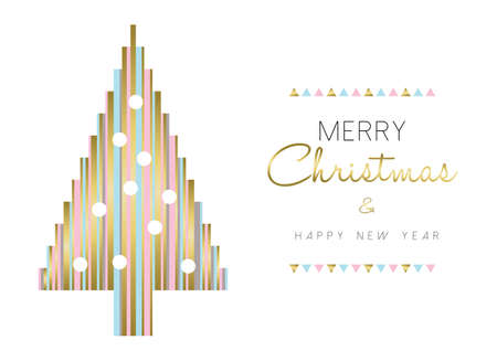 Merry christmas Happe and new year gold illustration design, christmas tree made of abstract geometric shapes in pastel colors over white background. vector.