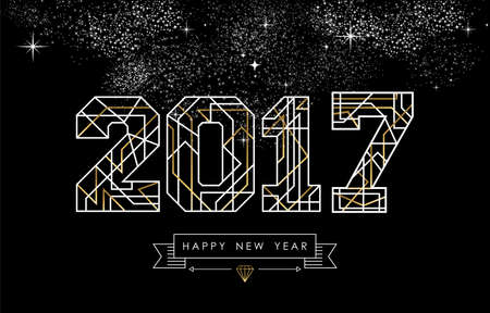 new years eve background: Happy New Year card design in art deco style, gold and white 2017 sign with label. vector.