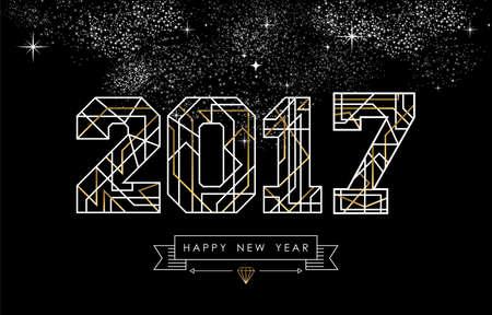 Szczęśliwy projekt karty Nowy Rok w stylu art deco, złota i biały 2017 znak z etykietą. wektor.