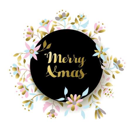 luxo: Design Feliz Natal ouro com decora