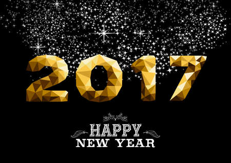 celebration eve: Happy new year 2017 gold low poly geometry design on night firework background. Ideal for greeting card, party invitation or web. vector.