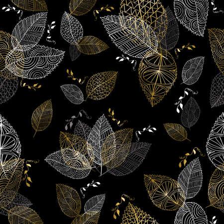 Hand getrokken goud herfst bladeren van de bomen naadloos patroon. Fall seizoen illustratie achtergrond. vector.