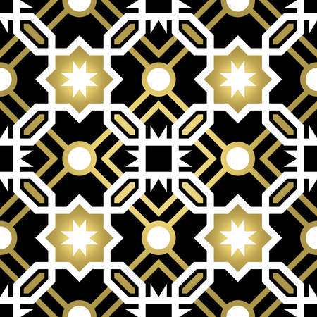 tiles: Gold classic ceramic mosaic tile seamless pattern with geometric shape decoration, luxury style abstract background. vector. Illustration