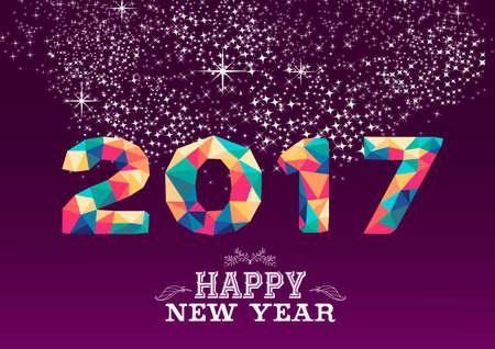 Frohes neues Jahr 2017 Low-Poly-Geometrieentwurf auf Nachtfeuerwerk Hintergrund. Ideal für Grußkarten, Partyeinladung oder Web. Vektor.