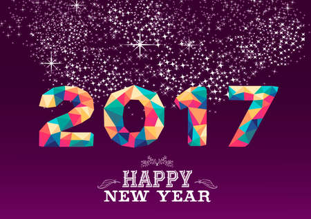 Happy new year 2017 low poly geometry design on night firework background. Ideal for greeting card, party invitation or web. vector.
