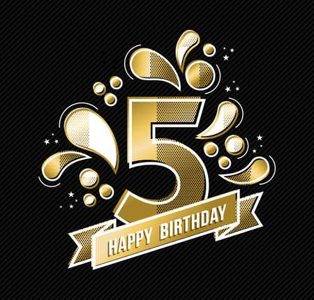 número 5 del feliz cumpleaños, diseño de color de oro durante cinco años en un estilo moderno con formas geométricas. vector.