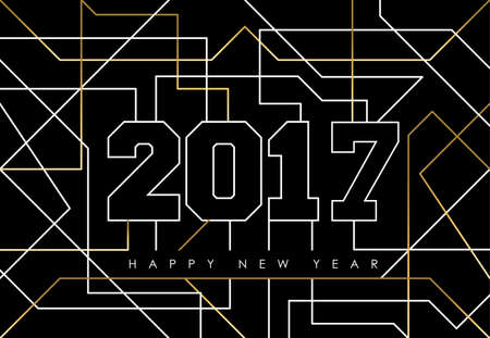 year greetings: Happy new year abstract deco gold design with 2017 sign in outline style. Ideal for holiday greeting card or poster. vector. Illustration