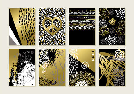 Set of abstract boho art style card designs in gold color with hand drawn illustrations and grunge decoration.