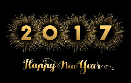 new year eve: Happy New Year 2017 gold background with text quote and firework explosion. Luxury holiday greeting card design or cover banner. vector. Illustration