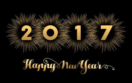 Happy New Year fond 2017 or avec texte devis et explosion feu d'artifice. vacances de conception de carte de voeux ou couverture bannière. vecteur.