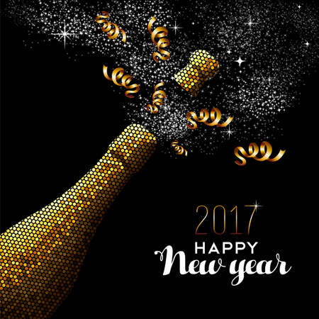 happy holidays text: Happy new year 2017 gold champagne bottle celebration in mosaic style. Ideal for holiday card or elegant party invitation. vector.