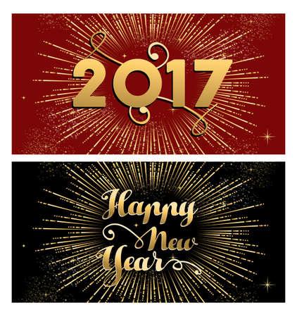 luxo: Feliz Ano Novo 2017, um conjunto de projetos de ouro com ilustra Ilustração