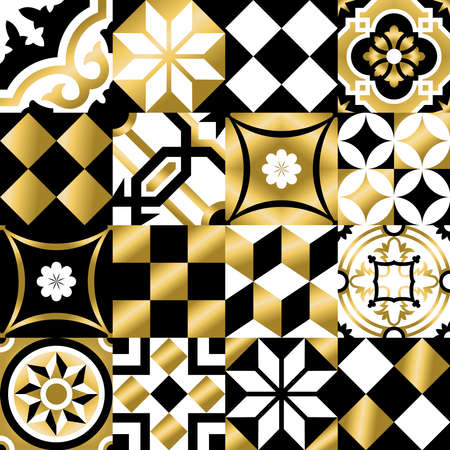 wall decor: Gold vintage patchwork seamless pattern with traditional tile decoration, classic mosaic style. vector.
