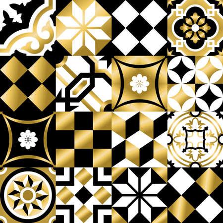 ceramiki: Gold vintage patchwork szwu z tradycyjnych płytek dekoracyjnych, klasycznym stylu mozaiki. wektor.