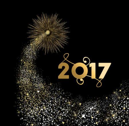 Ano Novo design 2017 de ouro felizes com ilustra��o explos�o de fogos de artif�cio. Ideal para o cart�o de f�rias ou um cartaz. vetor. Ilustração