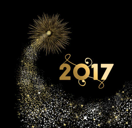 new years eve background: Happy New Year 2017 gold design with firework explosion illustration. Ideal for holiday greeting card or poster. vector. Illustration
