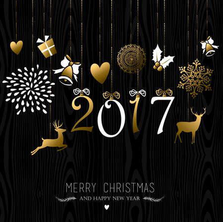 luxo: Feliz Natal Feliz Ano Novo 2017 design de cartão, renas e decoração do feriado no ouro sobre fundo de madeira. vetor.