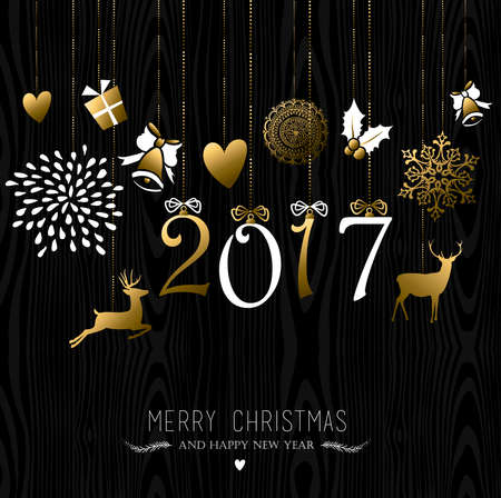 greeting season: Merry Christmas Happy New Year 2017 greeting card design, reindeer and holiday decoration in gold over wood background. vector.