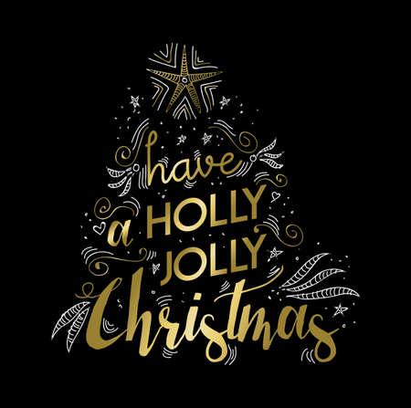 luxo: Projeto Feliz letras luxo ouro natal. Xmas feliz deseja Citação texto com doodles para poster, cartão do feriado. vector EPS10.