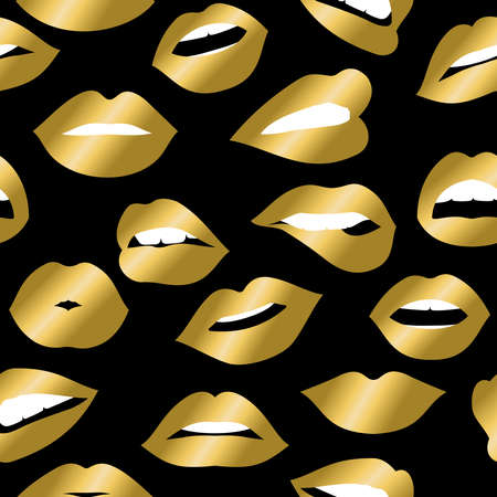 girl mouth: Girl mouth seamless pattern, woman lip with gold color lipstick expressing emotions and gestures. vector. Illustration