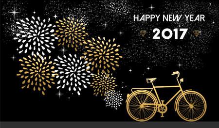 Gelukkig Nieuwjaar 2017, goud kaart ontwerp met fiets en vuurwerk in de nachtelijke hemel achtergrond. vector.
