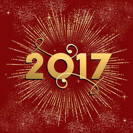 Gelukkig Nieuwjaar 2017 gouden ontwerp met vuurwerk explosie illustratie. Ideaal voor vakantie groet kaart of poster. vector. Stock Illustratie