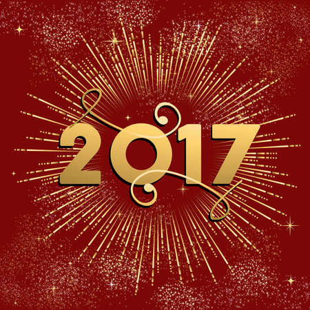 Happy New Year 2017 gold design with firework explosion illustration. Ideal for holiday greeting card or poster. vector. Illustration