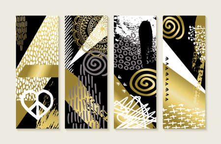 Set of abstract memphis art style designs in gold color with hand drawn illustrations and grunge decoration. vector.