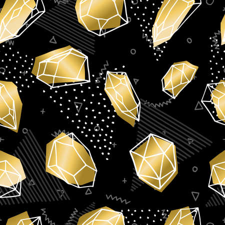 diamond stones: Seamless pattern of gold color crystal mineral stones, simple hand drawn diamond rocks background. vector.