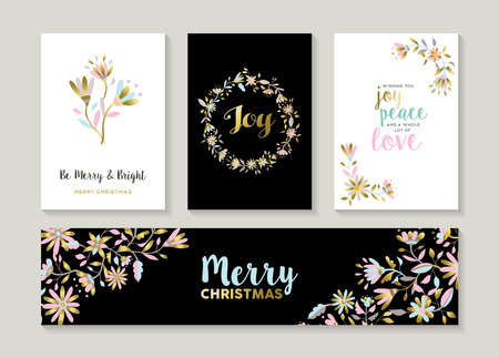 Merry Christmas set of gold flower designs with happy quotes and decoration. Collection of labels, cards, banner for holiday season. vector. Illustration