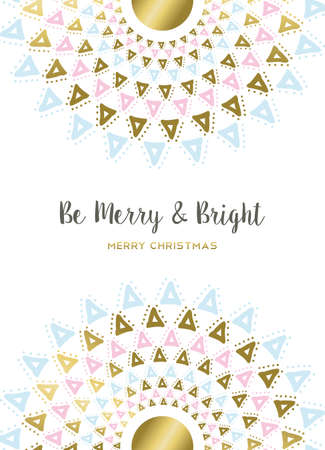 Merry Christmas design in gold and pastel colors with mandala lettering decoration for holiday greeting card, poster, or invitation. vector. Ilustração