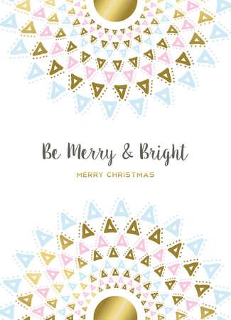 Vrolijk ontwerp van Kerstmis in goud en pastel kleuren met mandala letters decoratie voor vakantie wenskaart, poster, of uitnodiging. vector.