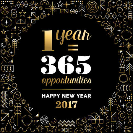 new opportunity: Happy new year 2017 gold design with motivational text quote for inspiration and line art icons background. vector.