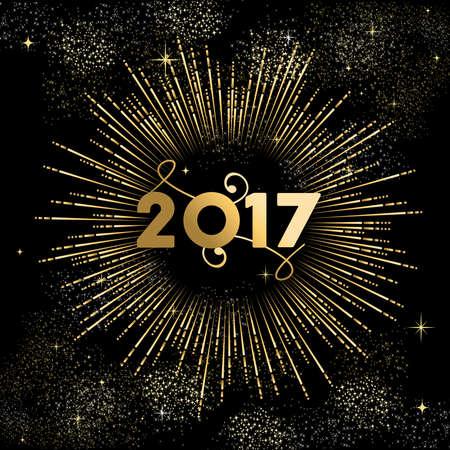 Año Nuevo diseño 2017 de oro feliz con la ilustración de la explosión de fuegos artificiales. Ideal para la tarjeta de felicitación de vacaciones o un cartel. vector. Foto de archivo - 63255545
