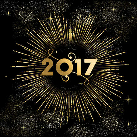 Happy New Year 2017 gold design with firework explosion illustration. Ideal for holiday greeting card or poster. vector. Illusztráció