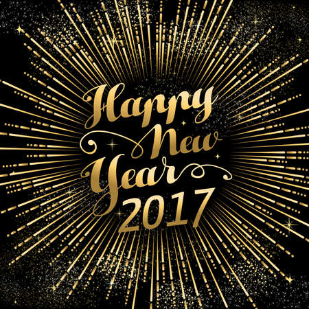 lux: Happy New Year 2017 gold background with text quote and firework explosion. Luxury holiday greeting card design. vector.