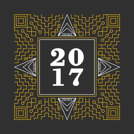 Año Nuevo 2016 de la vendimia marco ornamental retro en el diseño de estilo de línea geométrica. Ideal para tarjetas de felicitación e imprimir el cartel. vector. Foto de archivo - 63255548