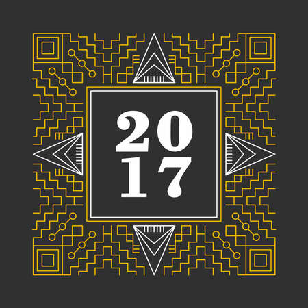 New Year 2016 retro vintage ornamental frame in geometric line style design. Ideal for greeting card and print poster. vector.