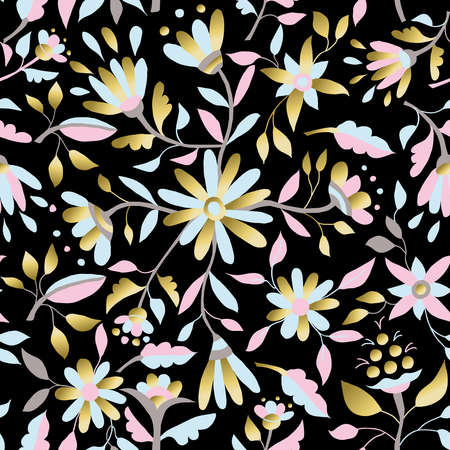 gold floral: Gold floral spring seamless pattern with daisy flowers, leaves and luxury illustration designs. vector.