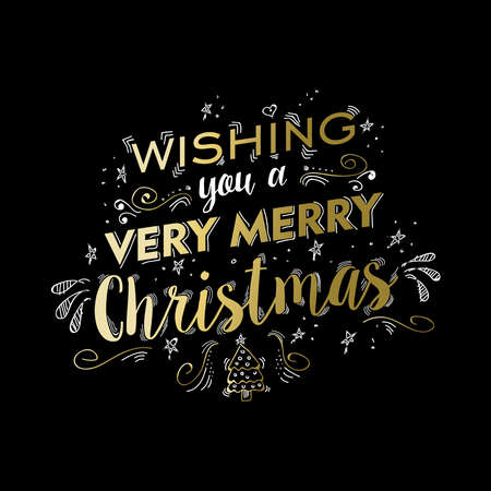 Merry christmas gold luxury lettering design. Happy xmas wish text quote with doodles for poster, holiday greeting card. EPS10 vector.
