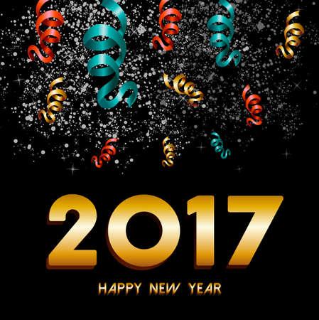 Año Nuevo tarjeta de felicitación feliz 2017, el texto del oro con el cielo nocturno de fuegos artificiales y el Fondo de la explosión de confeti. vector.