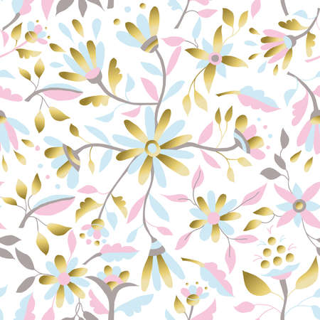 Gold floral spring seamless pattern with daisy flowers, leaves and decorative illustration designs. vector.
