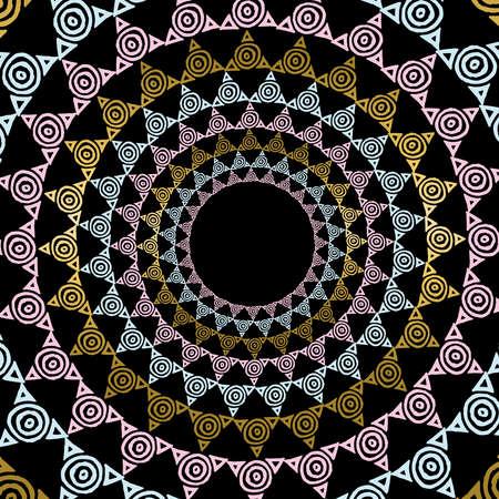 luxo: ilustração mandala ouro no estilo da arte tribal, tradicional mão abstrato tirado decoração forma geométrica. vetor.