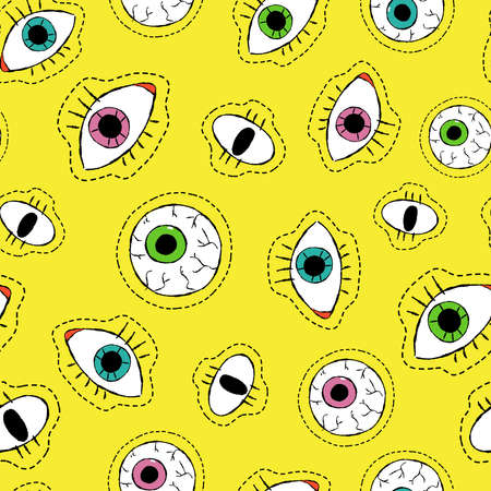 vibrant color: Retro style hand drawn eyeball seamless pattern with human eye stitch patch icons in vibrant color. vector.