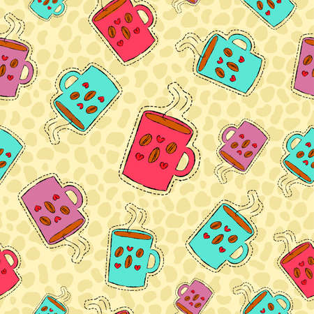 Caffeine lover Hand drawn seamless pattern with coffee mug patch icons, sticker or pin background vector.
