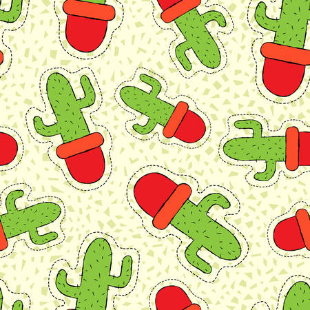 succulent: Hand drawn seamless pattern with cactus plant stitch patch icons, green nature background vector.