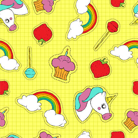 Colorful hand drawn seamless pattern with cute stitch patch icons or pins. Candy cake, rainbow, unicorn and more vector.