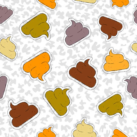 Funny hand drawn seamless pattern with poop patch icons, sticker or pin  background vector.
