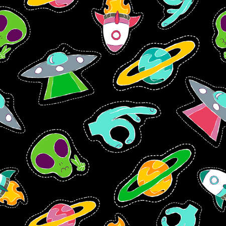 abduction: Hand drawn seamless pattern with space planet stitch patch icons, planet and alien ship abduction designs vector. Illustration