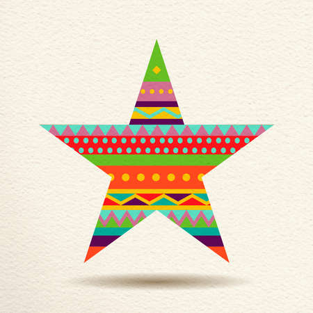 Star decoration in fun happy colors with abstract geometric shapes, concept design. EPS10 vector.